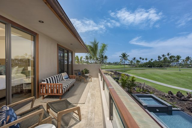 Equity Residences Mauna Lani Resort home with infinity pool and golf course views
