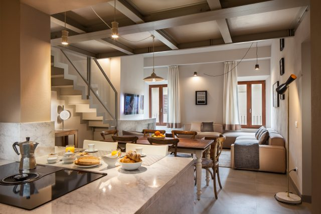 Equity Residences penthouse in Siena Italy carrara marble countertop chef kitchen